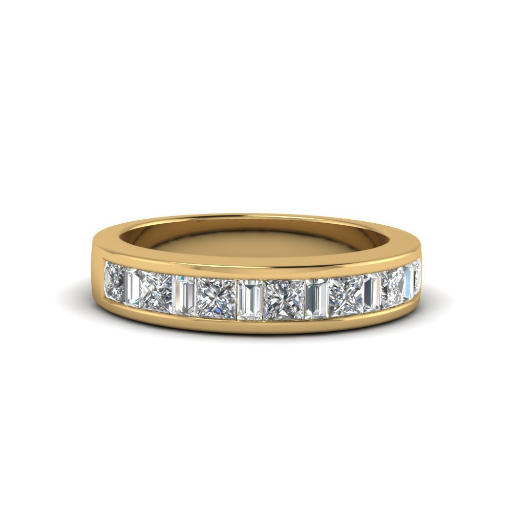 Princess Cut And Baguette Wedding Bands