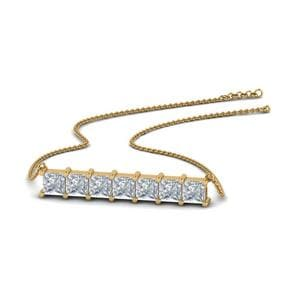 Princess Diamond Horizontal Bar Pendant In 14K Yellow Gold
