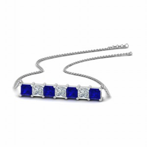 Princess Cut Horizontal Bar Pendant