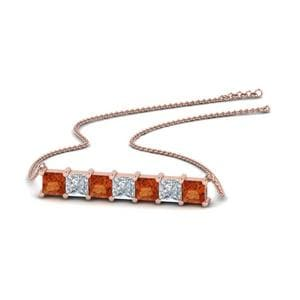 Princess Cut Orange Sapphire Pendant