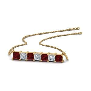 Princess Cut Pendant With Ruby