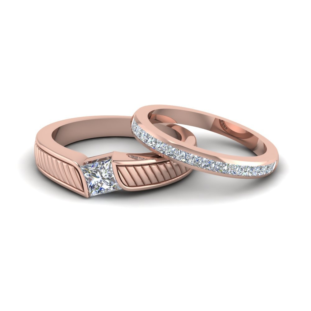 Princess Cut Wedding Bands For His & Hers