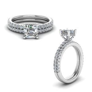 Prong Asscher Cut Diamond Petite Bridal Set In 18K White Gold