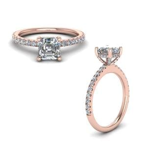 Prong Asscher Cut Diamond Petite Engagement Ring In 14K Rose Gold