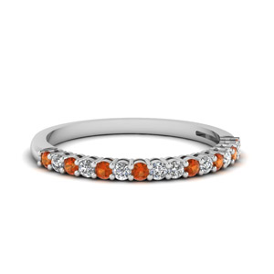 Orange Sapphire Basket Prong Round Diamond Anniversary Band In 14K White Gold