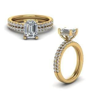 Prong Emerald Cut Diamond Petite Bridal Set In 14K Yellow Gold