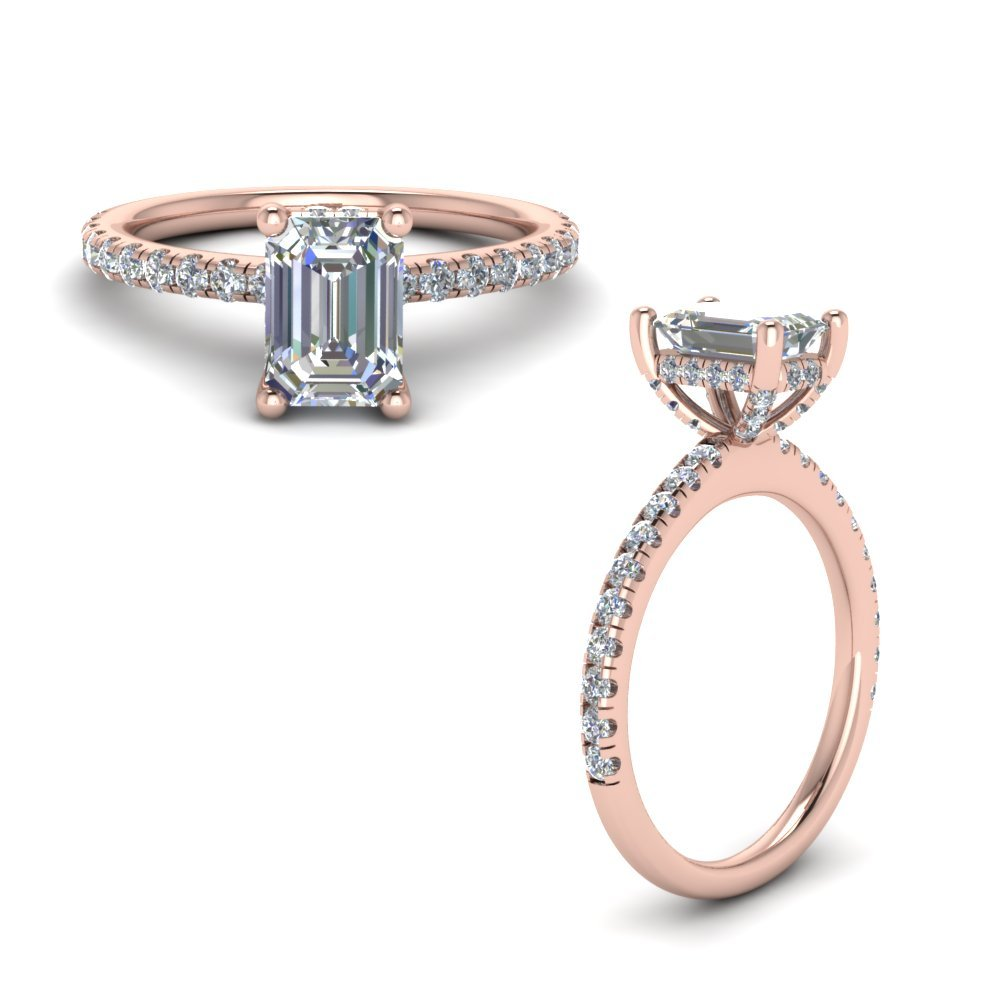 Prong Emerald Cut Diamond Petite Engagement Ring In 14K Rose Gold
