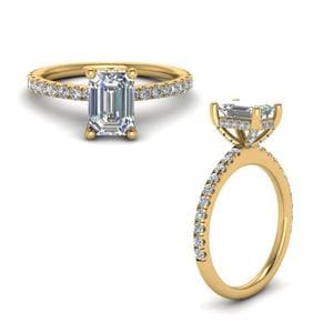 Prong Emerald Cut Diamond Petite Engagement Ring In 14K Yellow Gold