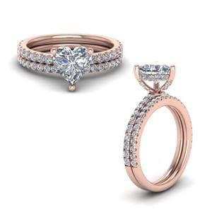 Prong Heart Shaped Diamond Petite Bridal Set In 14K Rose Gold