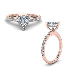 Prong Heart Shaped Diamond Petite Engagement Ring In 14K Rose Gold