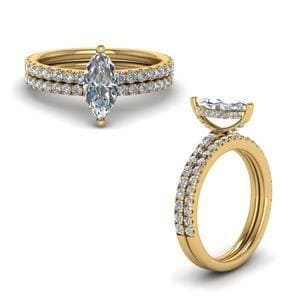 Prong Marquise Cut Diamond Petite Bridal Set In 14K Yellow Gold