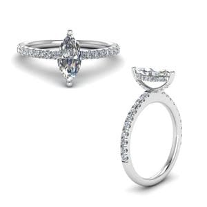 Prong Marquise Cut Diamond Petite Engagement Ring In 950 Platinum