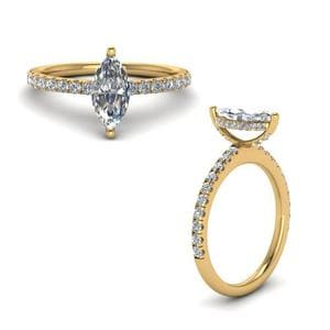 Prong Marquise Cut Diamond Petite Engagement Ring In 14K Yellow Gold