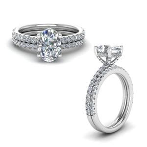 Prong Oval Shaped Diamond Petite Bridal Set In 14K White Gold