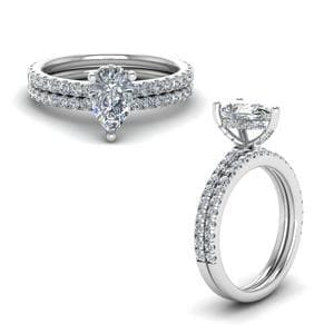 Prong Pear Shaped Diamond Petite Bridal Set In 14K White Gold