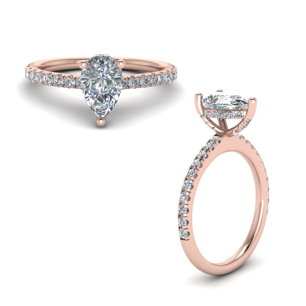 Prong Pear Shaped Diamond Petite Engagement Ring In 14K Rose Gold