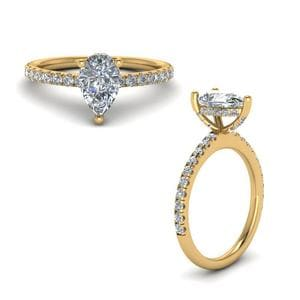 Prong Pear Shaped Diamond Petite Engagement Ring In 14K Yellow Gold
