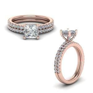 Prong Princess Cut Diamond Petite Bridal Set In 14K Rose Gold