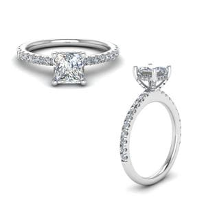 Prong Princess Cut Diamond Petite Engagement Ring In 18K White Gold