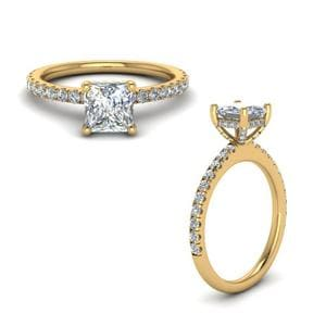 Prong Princess Cut Diamond Petite Engagement Ring In 14K Yellow Gold