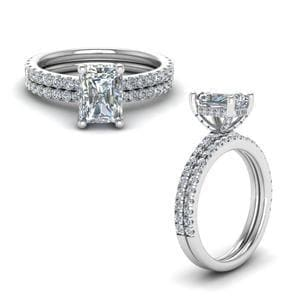 Prong Radiant Cut Diamond Petite Bridal Set In 14K White Gold