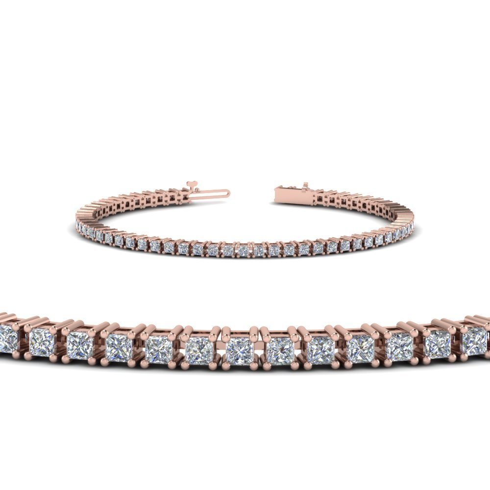 14K Rose Gold Princess Cut Bracelet