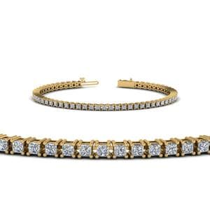 4 Carat Princess Cut Diamond Tennis Bracelet In 14K Yellow Gold
