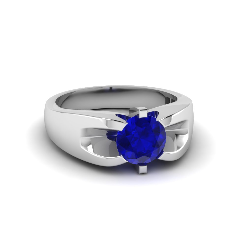 prong set round sapphire wedding rings