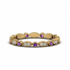 Gold Purple Topaz Eternity Diamond Band