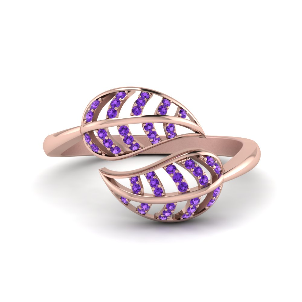 Purple Topaz Leaf Bypass Ring In 14K Rose Gold