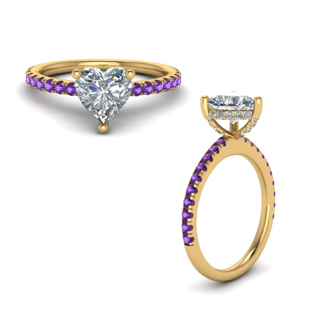 Purple Topaz Prong Heart Shaped Diamond Petite Engagement Ring In 18K Yellow Gold
