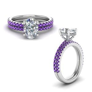 Purple Topaz Prong Oval Shaped Diamond Petite Bridal Set In 950 Platinum