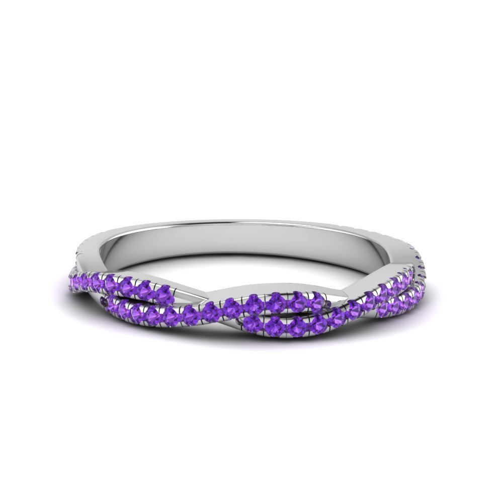 Purple Topaz Twisted Wedding Band Gift For Her In 950 Platinum