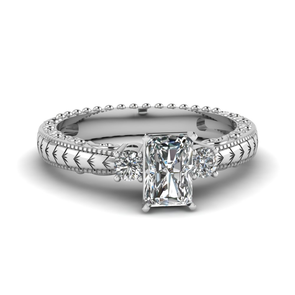 Radiant And Round 3 Stone Engagement Ring