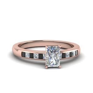 Radiant Channel Princess Cut Enagagement Ring With Black Diamond In 14K Rose Gold