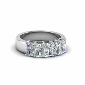 1 Ct. Radiant Cut 5 Stone Wedding Bands