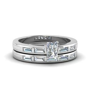 Radiant Cut Bar Baguette Diamond Simple Wedding Ring Set In 14K White Gold