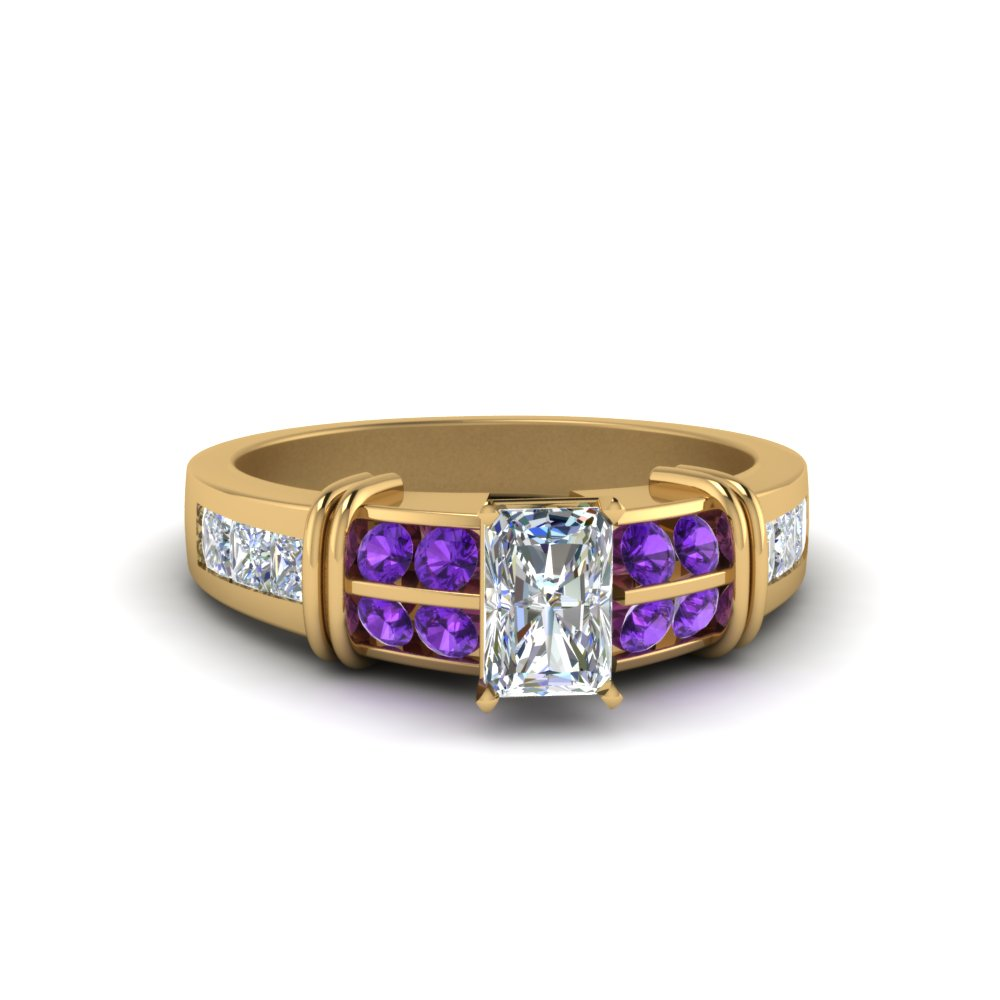 Radiant Cut Bar Channel Set Wide Diamond Ring With Violac Topaz In 14K Yellow Gold