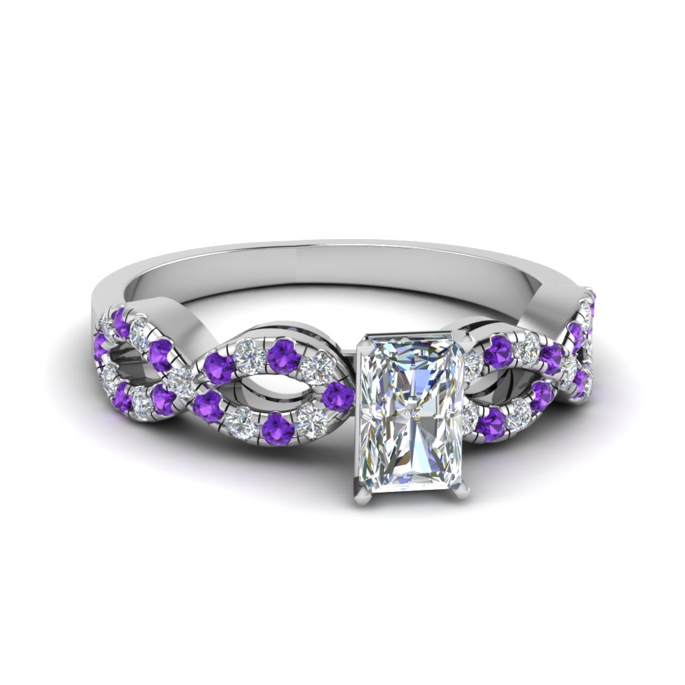 Radiant Cut Braided Diamond Engagement Ring With Violet Topaz In 14K White Gold