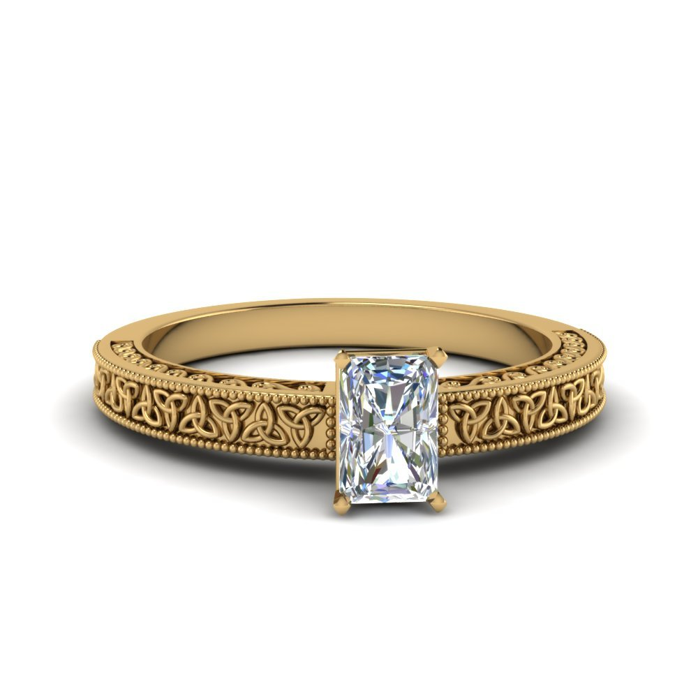 Radiant Cut Celtic Engraved Solitaire Ring In 14K Yellow Gold