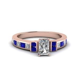 Radiant Cut Channel Bar Set Diamond Engagement Ring For Women With Blue Sapphire In 14K Rose Gold