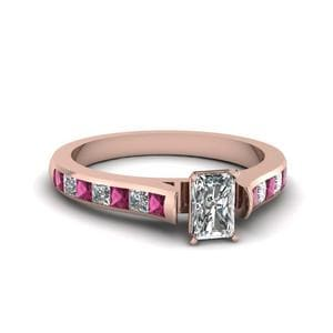 Radiant Cut Cathedral Channel Set Diamond Engagement Ring With Pink Sapphire In 14K Rose Gold