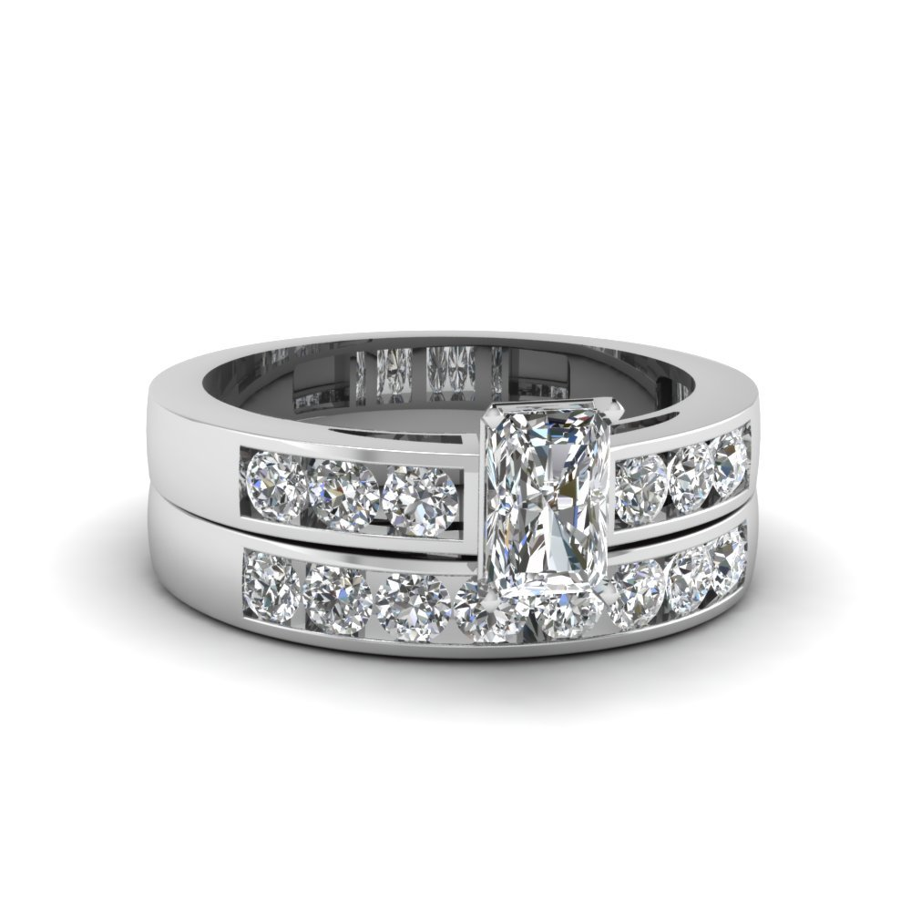 Radiant Cut Channel Set Diamond Wedding Ring Sets In 14K White Gold