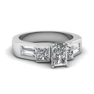 Art Deco Baguette Bar Engagement Ring