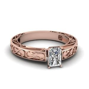 Carved Radiant Diamond Solitaire Engagement Ring In 14K Rose Gold