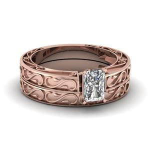Carved Radiant Diamond Solitaire Wedding Ring Set In 14K Rose Gold