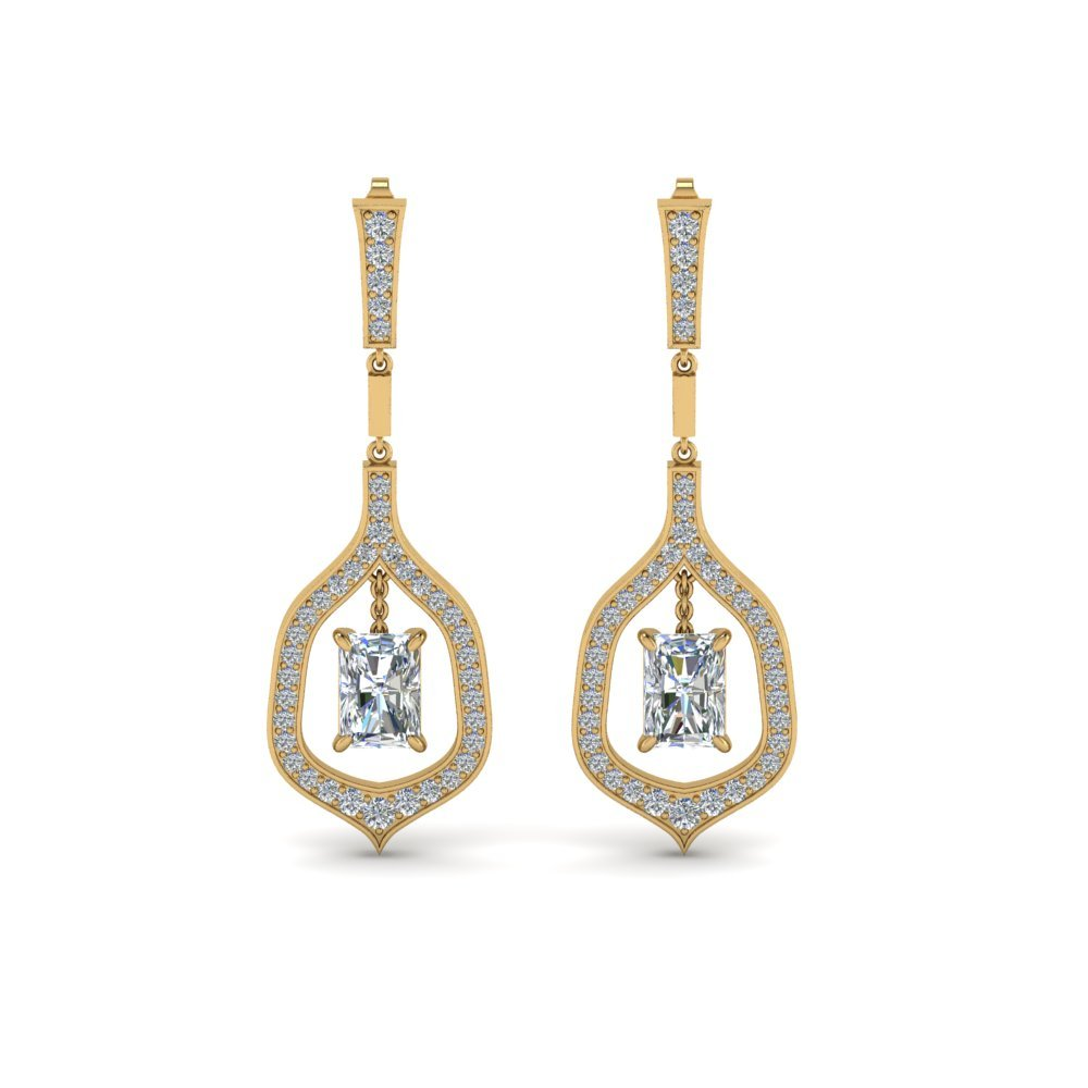 Radiant Cut Diamond Drop Hanging Earring In 18K Yellow Gold