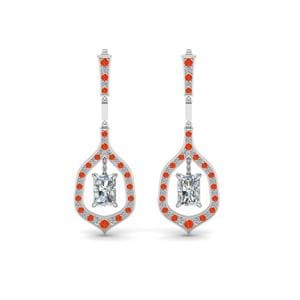 Hanging Earring With Orange Topaz