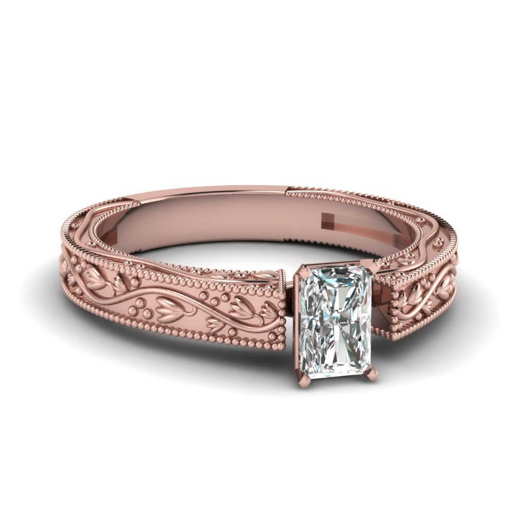 Floral Engraved Radiant Cut Diamond Solitaire Engagement Ring In 14K Rose Gold