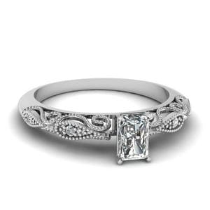 Radiant Cut Paisley Diamond Ring In 14K White Gold